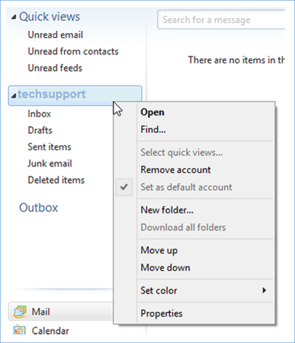 Updating your email account settings in Windows Live Mail 2012